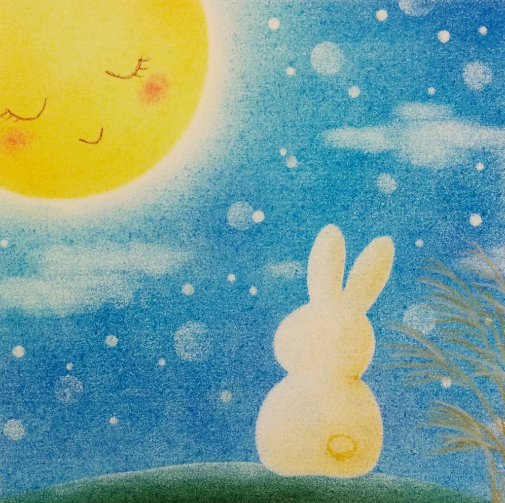 パステルアート「お月見うさぎ」