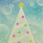 パステルアートでクリスマスツリー
