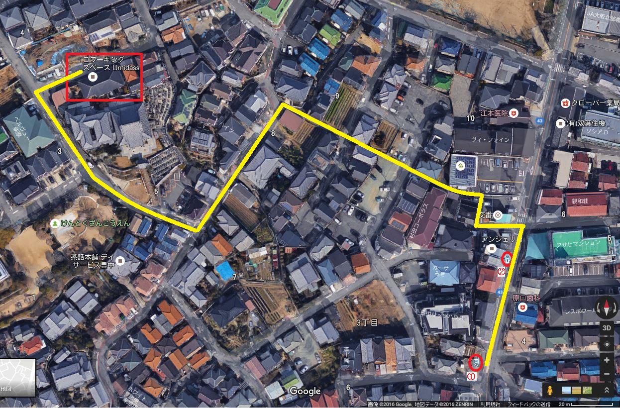 柴原バス停からUmidassへの道(Googleマップより)