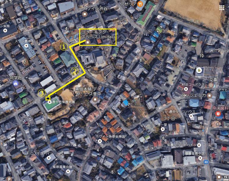 Umidassから郵便ポストへの道(Googleマップより)